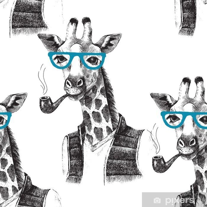 Naklejka Pixerstick Jednolite wzór z przebrany żyrafa hipster - Zwierzęta