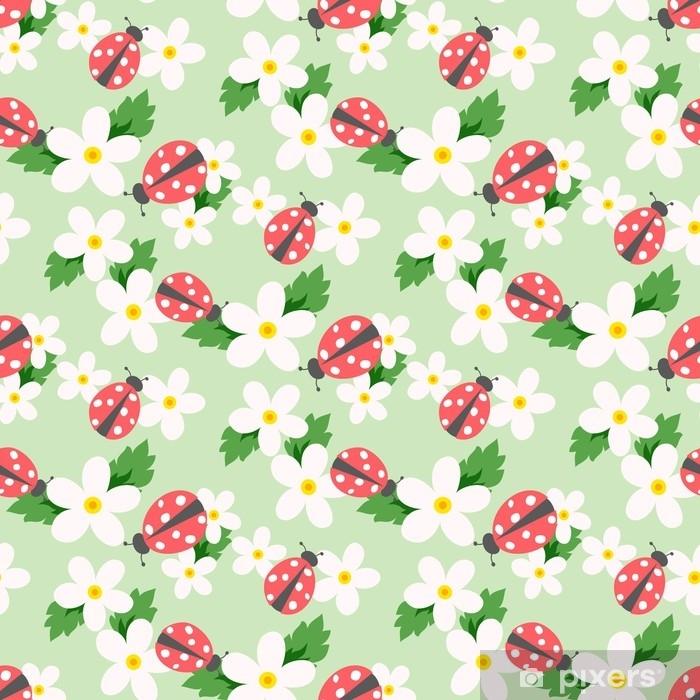 Poster Kleiner Blumenvektor mit Marienkäfer. niedliches weißes nahtloses mit Blumenmuster. Blumen Hintergrund. - Grafische Elemente