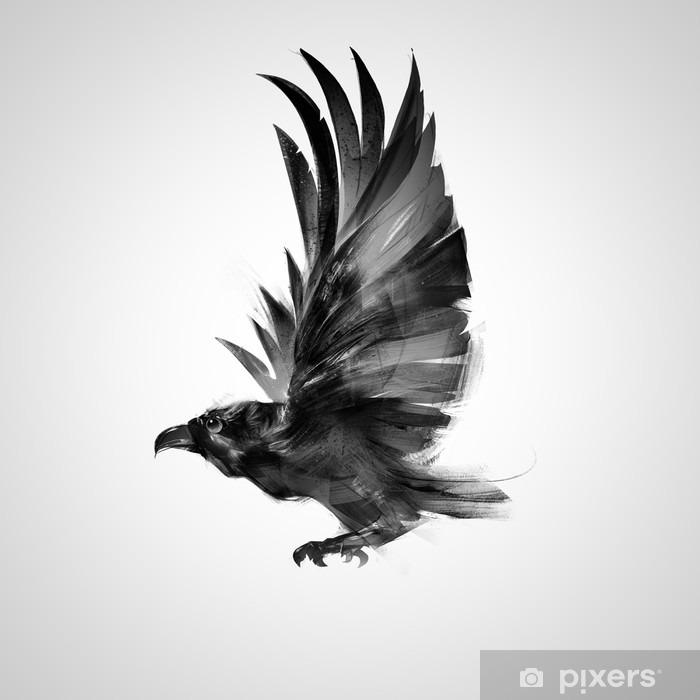 Pixerstick Sticker Zwarte kraai geïsoleerd grafisch vliegende vogel - Dieren