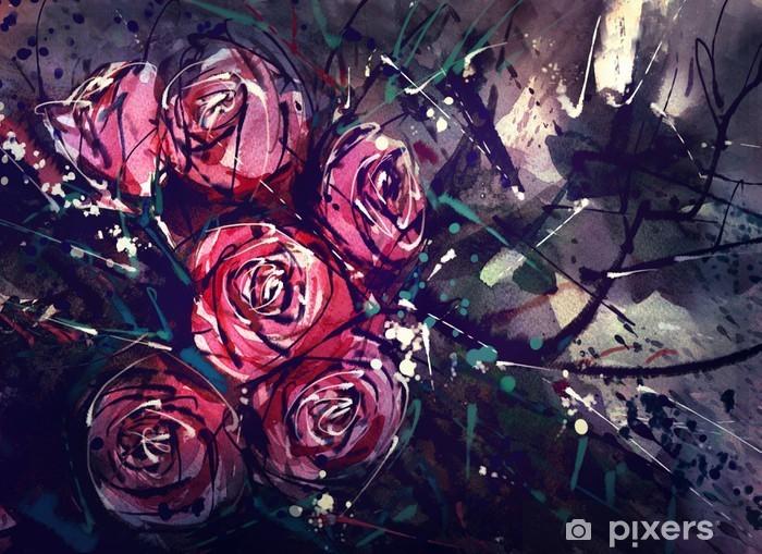 Vinyl Fotobehang Waterverf het schilderen stijl rozen Abstracte kunst. - Hobby's en Vrije tijd