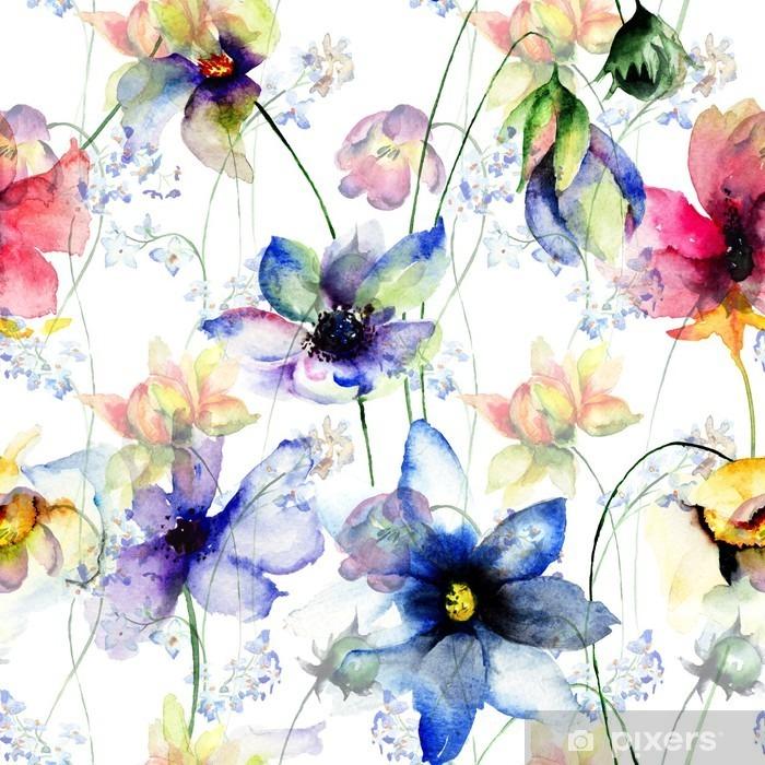 Vinil Duvar Resmi Dekoratif yaz çiçekleri ile Seamless pattern - Çiçek ve bitkiler