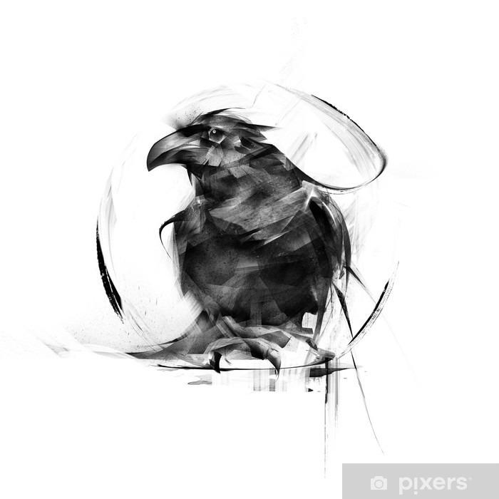 Fototapeta winylowa Realistyczne czarny kruk na białym tle - Zwierzęta