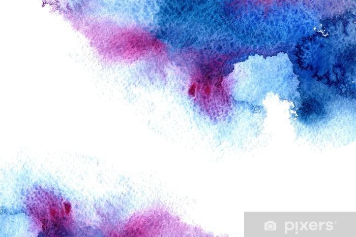 Naklejka Pixerstick Streszczenie niebieski i fioletowy wodniste frame.Aquatic backdrop.Hand rysowane Akwarele stain.Cerulean powitalny. - Zasoby graficzne