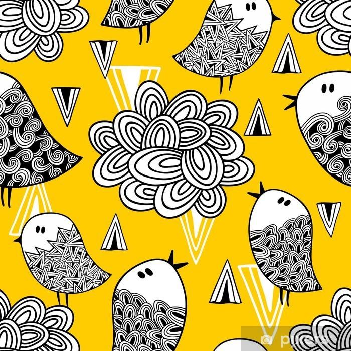 Fototapeta winylowa Kreacja doodle szwu z ptaków i elementów konstrukcyjnych. - Zasoby graficzne