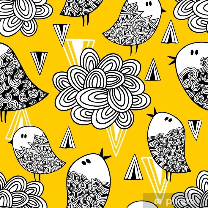 Creative seamless pattern with doodle bird and design elements. Pixerstick Sticker - Graphic Resources