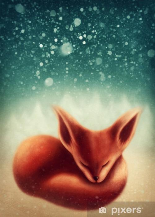 Fotomural Estándar Fox durmiendo en el bosque de invierno - Animales