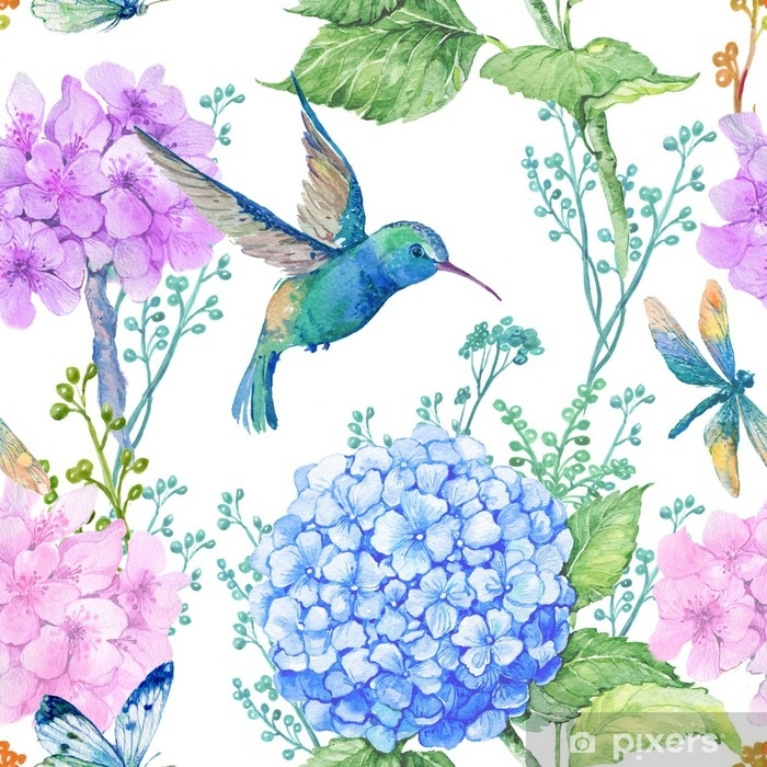 seamless pattern illustration in watercolor,pattern,ornament to textile design.Wallpaper,watercolor hydrangea flowers and dragonflies and little blue Hummingbird Vinyl Wall Mural - Plants and Flowers