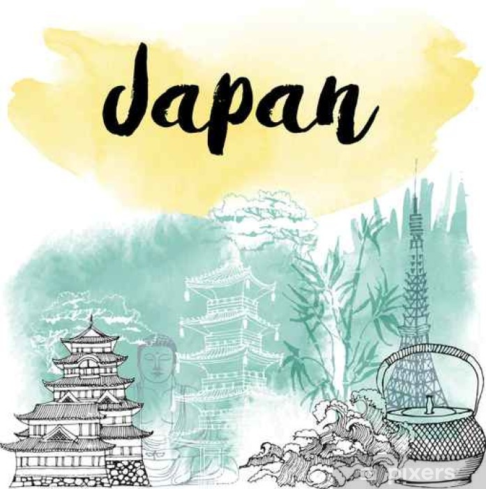 Poster Hand drawn Japon - Voyages