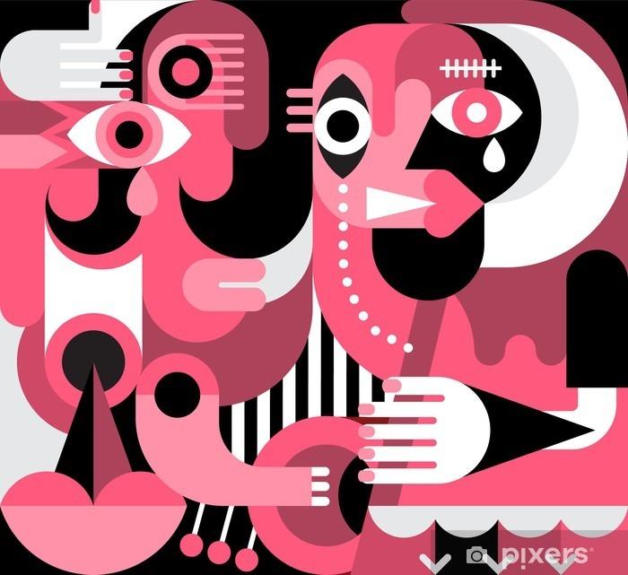 Mural de Parede em Vinil Retrato de duas mulheres de grito - Pessoas
