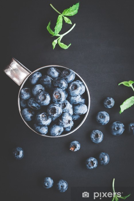 Blueberry on black background. Top view, flat lay Vinyl Wall Mural - Food