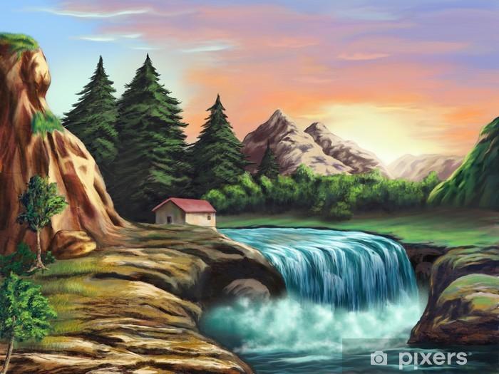 Naklejka Pixerstick Krajobraz fantasy - Woda