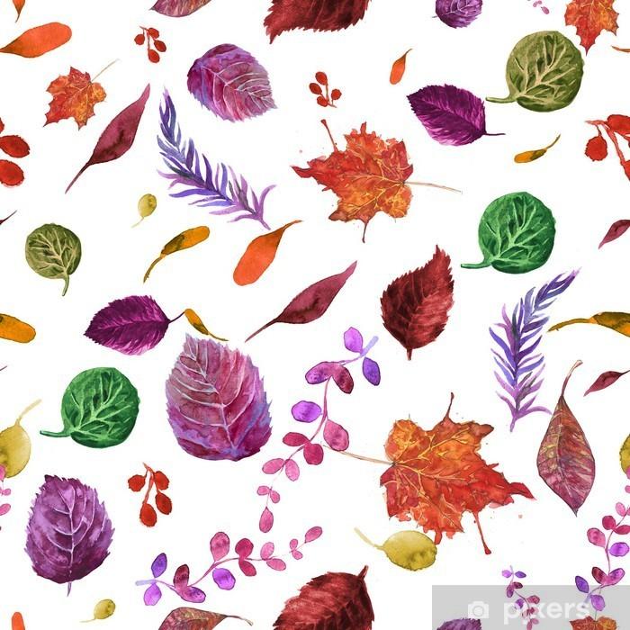 Fotomural Estándar Modelo inconsútil de la acuarela con las hojas de otoño. - Otoño