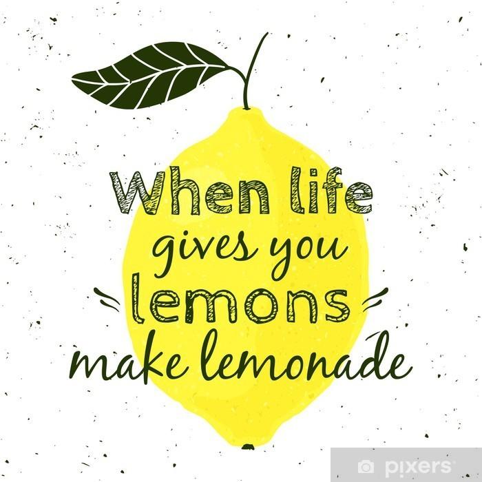 """Póster Ilustración del vector con el limón y la cita de motivación """"Cuando la vida te da limones, haz limonada"""". cartel tipográfico para la impresión, camiseta, tarjeta de felicitación. - Recursos gráficos"""