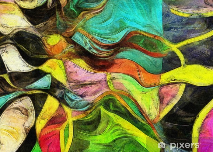 Swirling Shapes, Color and Lines Vinyl Wall Mural - Graphic Resources