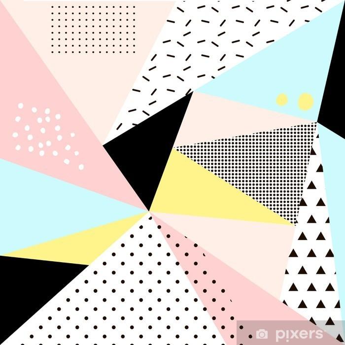 Pixerstick Sticker Geometrisch Memphis background.Retro ontwerp voor de uitnodiging, visitekaartje, poster of banner. - Grafische Bronnen
