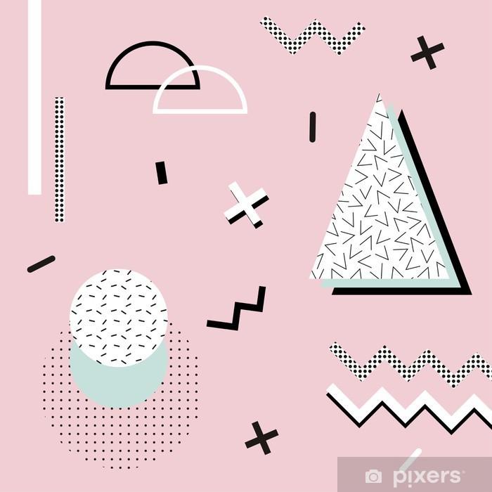 Çıkartması Pixerstick Davetiye, kartvizit, afiş veya afiş için geometrik memphis background.Retro tasarımı. -