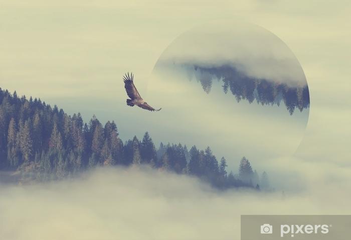 Pixerstick-klistremerke Skog på fjellet skråningen. geometrisk refleksjonseffekt - Lanskap