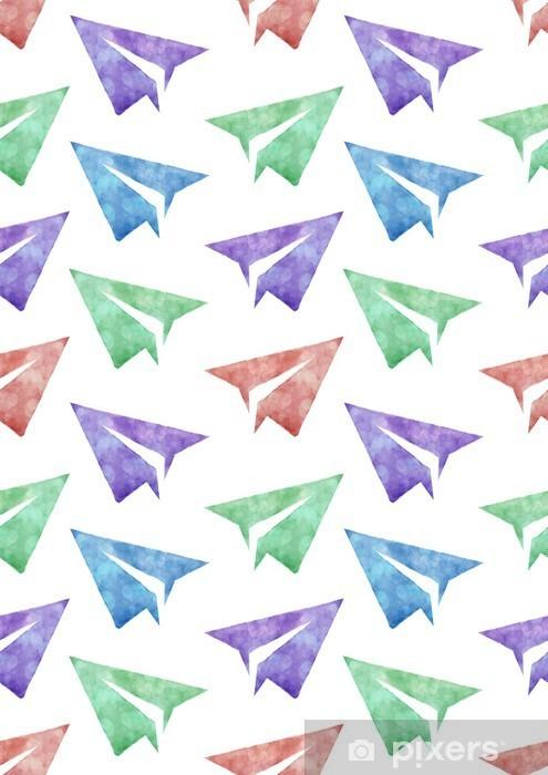 Vinyl Fotobehang Naadloze aquarel patroon met document vliegtuigen kleurrijke hand geschilderde afbeelding - Kinderkamer