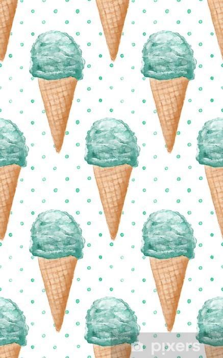 Fototapeta zmywalna Jednolite wzór akwarela z szyszek lodów ręcznie malowane tła - Do pokoju dziecięcego