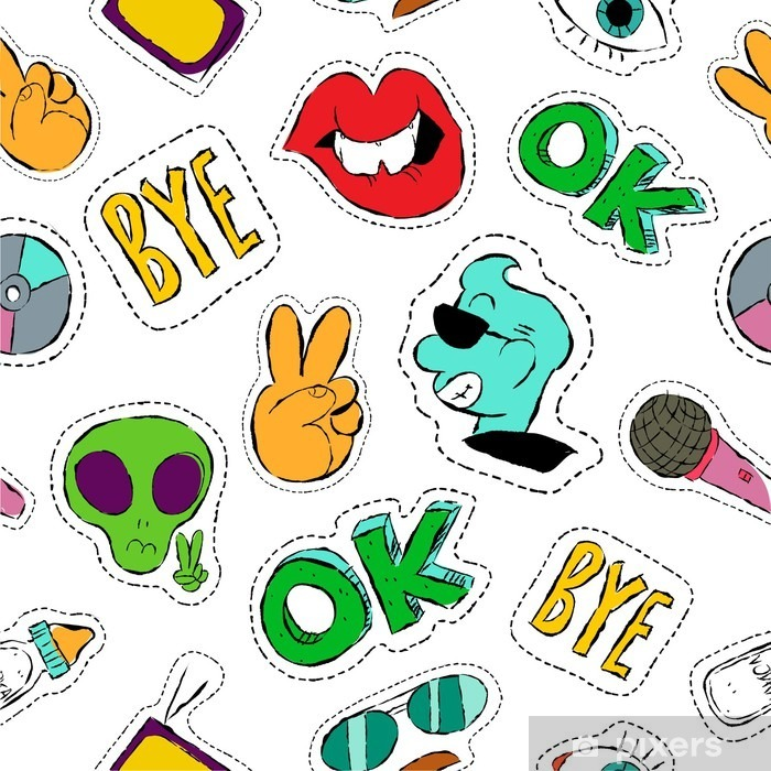 Sticker Pixerstick Main Fun dessiné icône patch seamless - Ressources graphiques