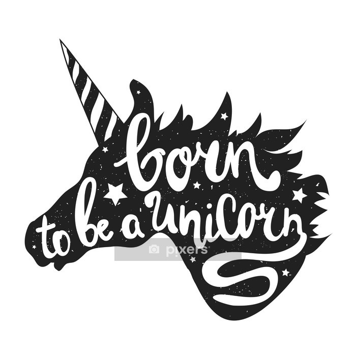 vector illustration with unicorn head and lettering text - born to