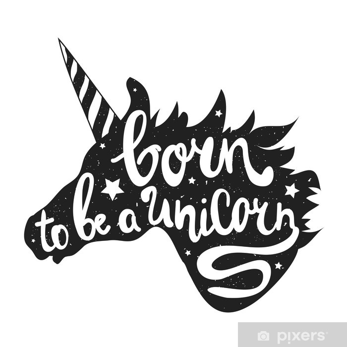 Vector Illustration With Unicorn Head And Lettering Text