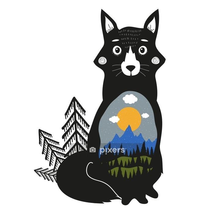 Vinilo para Pared Zorro, montañas azules, bosque de pino negro, verdes colinas, nubes, sol y nieve. - Animales