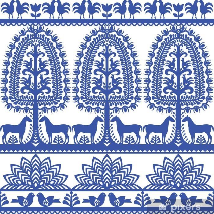 Papier peint vinyle Motif floral pattern d'art populaire polonais Wycinanki Kurpiowskie - Kurpie Papercuts - Ressources graphiques