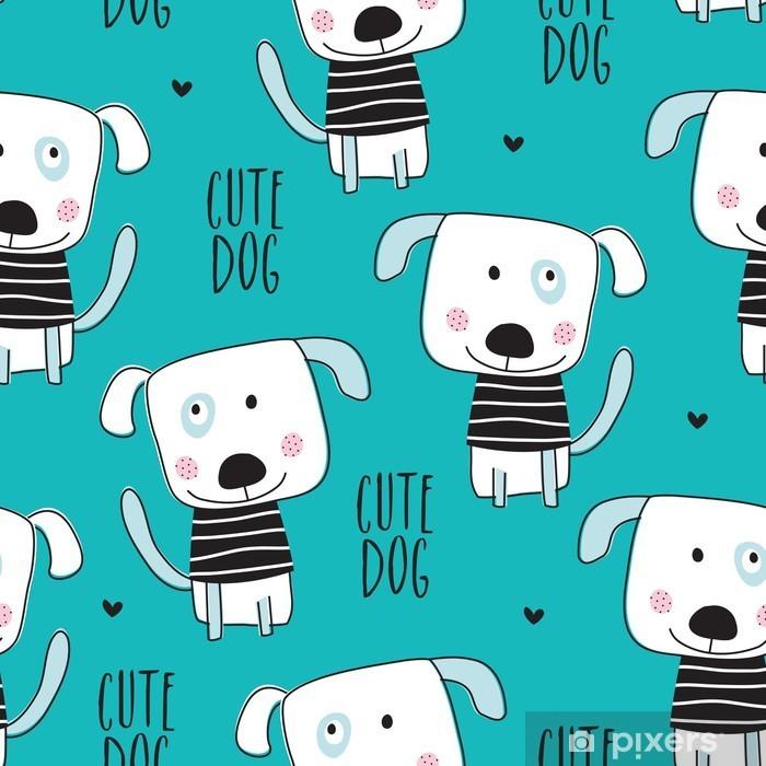 Vinyl Fotobehang Seamless dog pattern - vector illustratie - Dieren