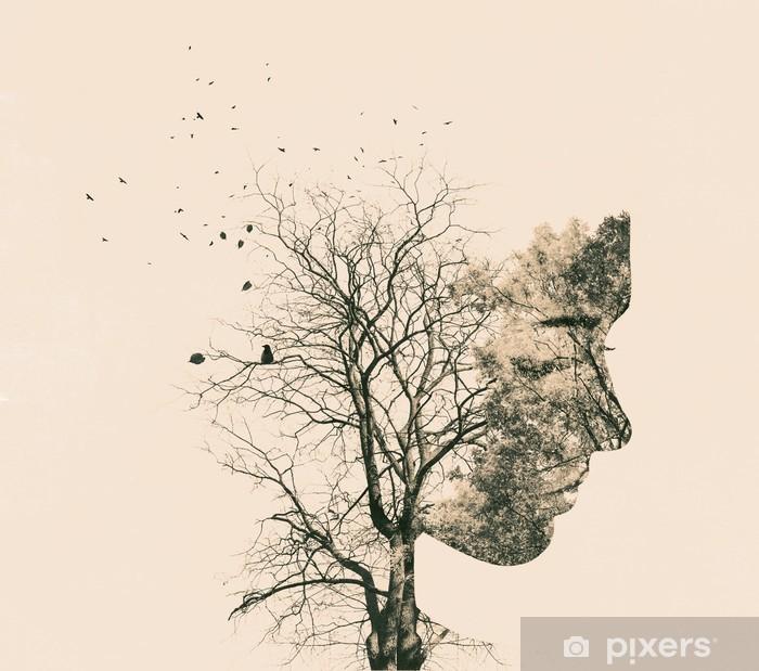 Vinyl Fotobehang Dubbele blootstelling portret van een jonge vrouw en de herfst bomen. - Mensen