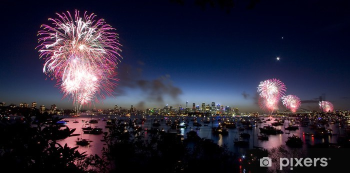 Vinyl-Fototapete Sydney Silvester Feuerwerk - Urlaub