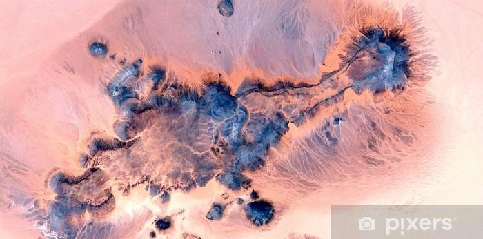 Vinyl Fotobehang Abstracte landschappen van woestijnen van Afrika, abstract naturalisme, abstracte fotografie woestijnen van Afrika uit de lucht, abstracte surrealisme, luchtspiegeling in de woestijn, abstract expressionisme, - Landschappen