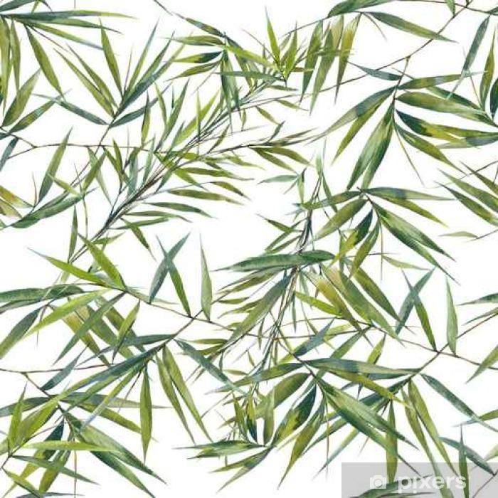 Fototapeta winylowa Akwarele ilustracji z liści bambusa, bez szwu wzorca na białym tle - Zasoby graficzne