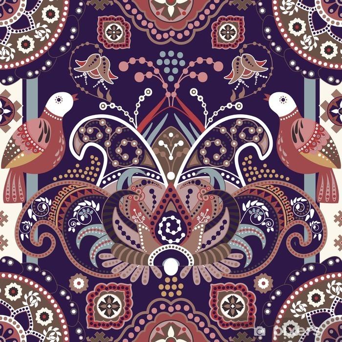 Pixerstick Sticker Kleurrijk naadloos patroon met decoratieve vogels en bloemen - Grafische Bronnen