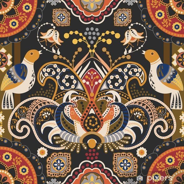 Papier peint vinyle Seamless pattern Colorful avec des oiseaux et des fleurs décoratives - Ressources graphiques