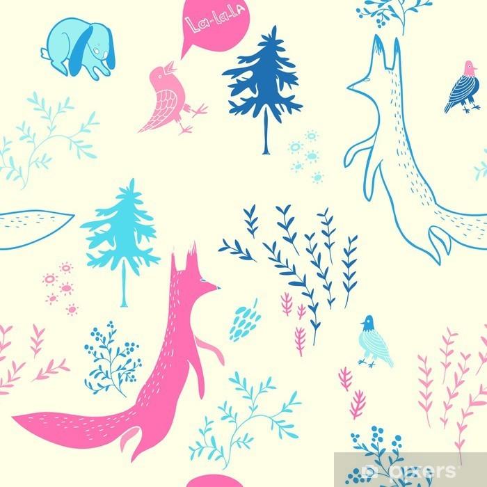 Vinyl Fotobehang Leuke dieren in het bos. Naadloos patroon. Hand getrokken illustratie met vos, konijn, vogels en bloemen elementen. Natuurlijke ontwerp vector achtergrond. - Kinderkamer