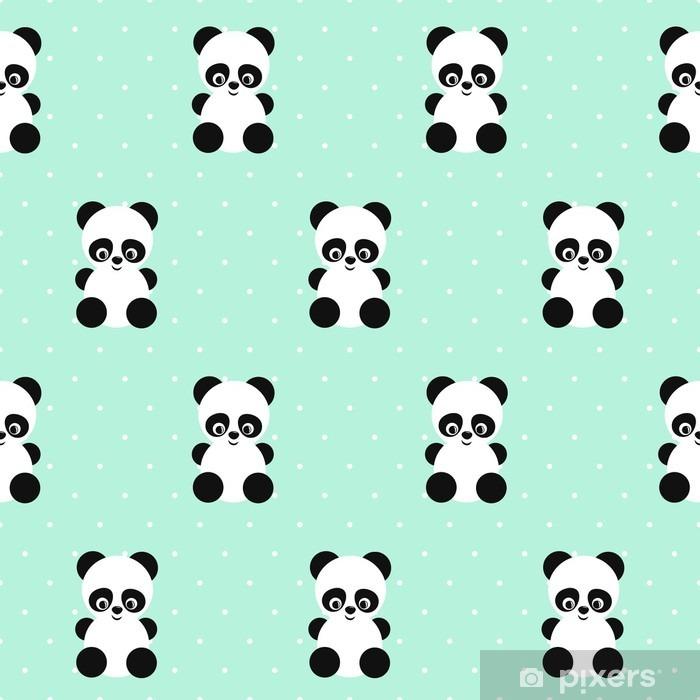 Panda seamless pattern on polka dots green background. Cute design for print on baby's clothes, textile, wallpaper, fabric. Vector background with smiling baby animal panda. Child style illustration. Pixerstick Sticker - Animals