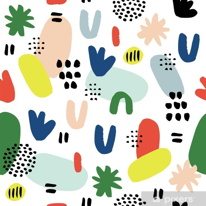 Hand drawn seamless pattern in modern style. Design for poster, card, invitation, placard, brochure, flyer, textile. Pixerstick Sticker - Graphic Resources
