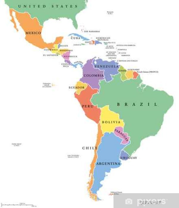 Lateinamerika Karte Gebirge.Fototapete Lateinamerika Heißt Es Einzelne Politische Karte Die Länder In Verschiedenen Farben Mit Nationalen Grenzen Und Englischen Ländernamen