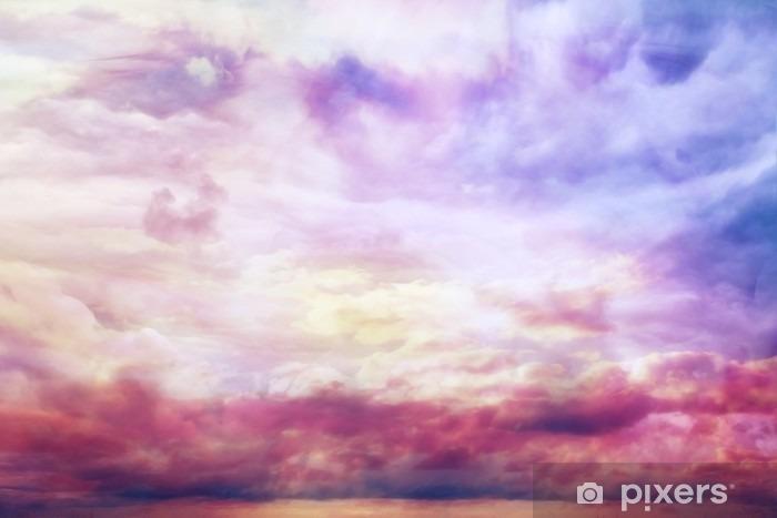 Fototapeta winylowa Akwarela błękitny tekstury, tło różowe chmury - Zasoby graficzne