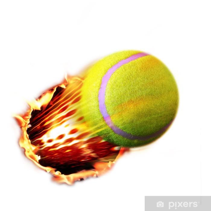Tennis Ball flames Pixerstick Sticker - Sports Items