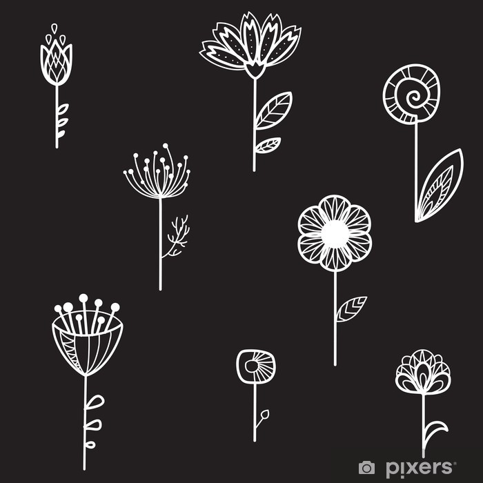 seamless texture with decorative flowers, black background, vector illustration Framed Poster - Flowers and plants