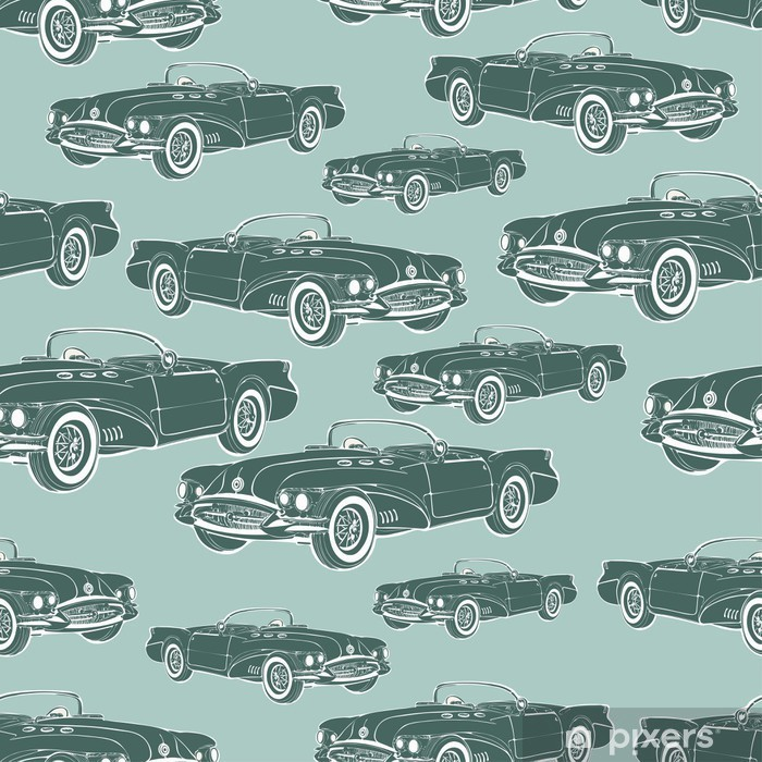 Vintage Car Cabriolet Seamless Pattern Retro Cartoon Background