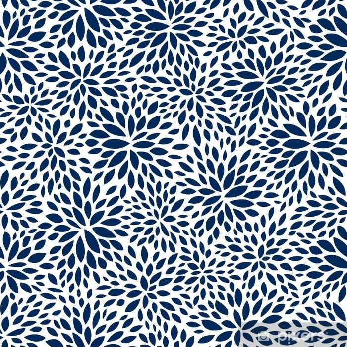 Fototapeta winylowa Bez szwu abstrakcyjny wzór liścia marynarki wojennej, tło wektor liści - Zasoby graficzne