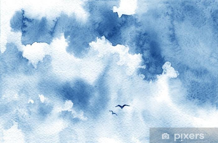 Afwasbaar Fotobehang Blauwe aquarel wolk, vogels en de hemel. Lente, zomer achtergrond. - Landschappen