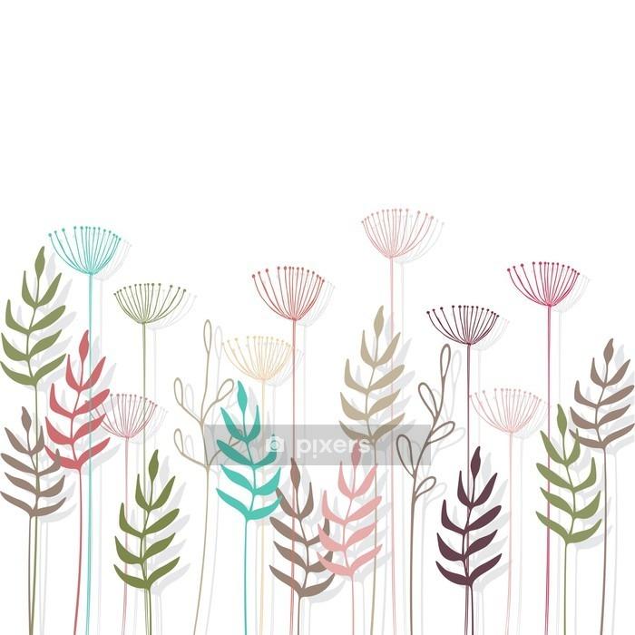 Adesivo da Parete Floral background - Piante & Fiori