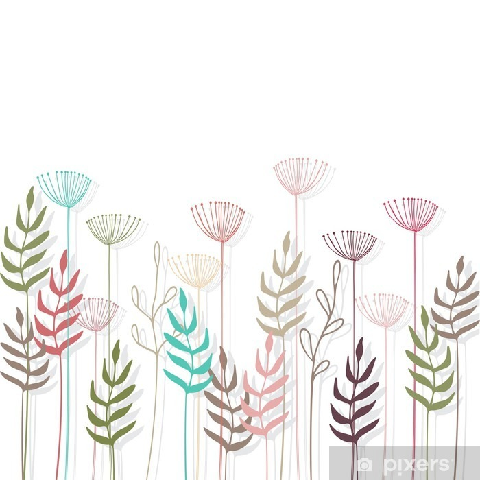 Nálepka na skříň Květinové pozadí - Rostliny a květiny