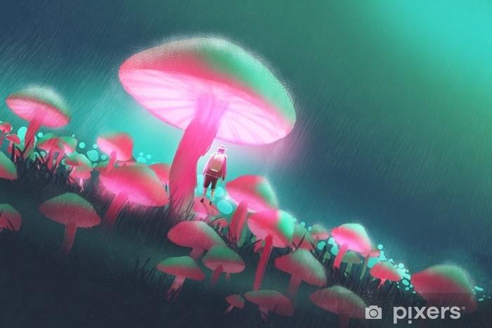Fototapeta winylowa Człowiek wycieczkowicz w lesie duże grzyby w deszczową noc, ilustracja malarstwo - Hobby i rozrywka