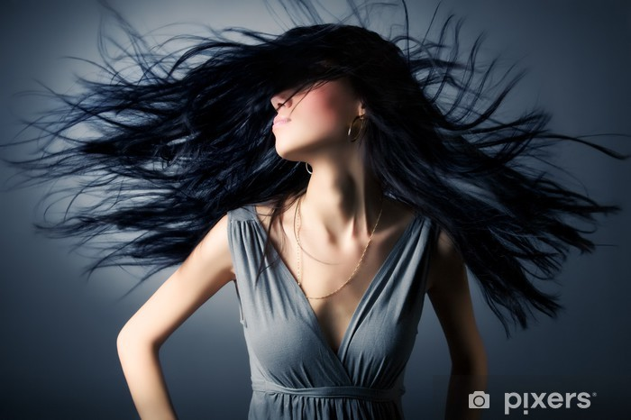 Woman with fluttering hair Pixerstick Sticker - Fashion