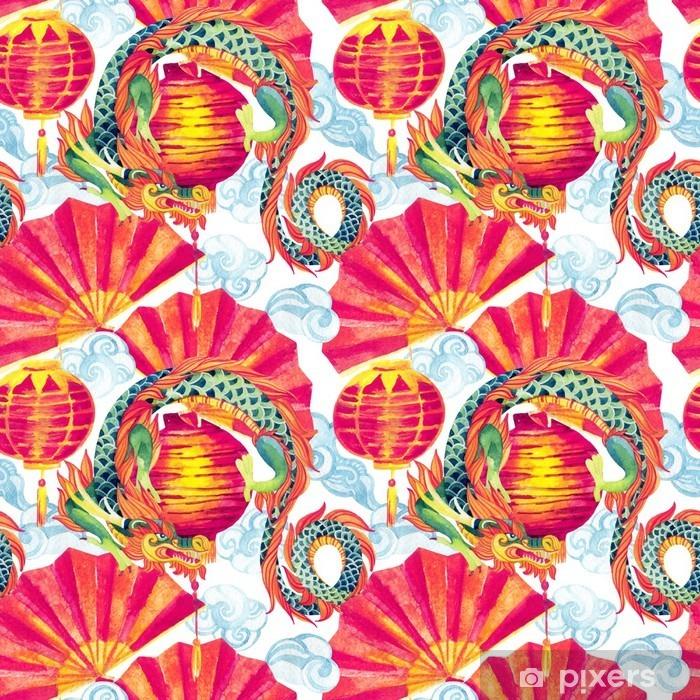 Papier peint vinyle Chinese Dragon aquarelle seamless pattern. - Voyages
